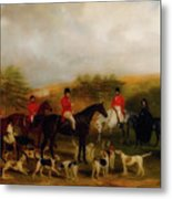 Sir Edmund Antrobus And The Old Surrey Fox Hounds At The Foot Of Metal Print