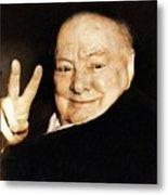 Sir Winston Churchill Victory Metal Print