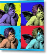 Sisteen Chapel Blue Cherub Angels After Michelangelo After Warhol Robert R Splashy Art Pop Art Print Metal Print