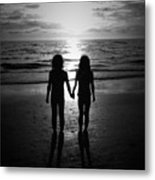 Sisters In Black And White Metal Print