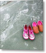 Sisters Playing Barefoot In The Sand Metal Print