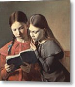 Sisters Reading A Book Metal Print by Carl Hansen