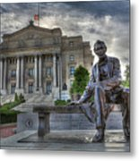Sit With Me - Seated Lincoln Memorial By Gutzon Borglum  Metal Print by Lee Dos Santos