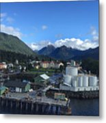Sitka From The Waterfront Showing The Three Sisters In The Back 2015 Metal Print