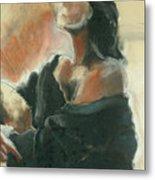 Sitted Woman Metal Print