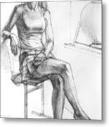 Sitting Ballerina Metal Print