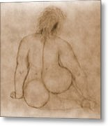 Sitting Fat Nude Woman Metal Print