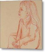 Sitting Girl Metal Print