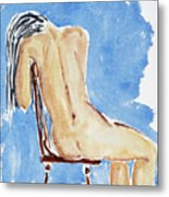 Sitting Girl Metal Print