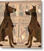 Sitting Proud Dogs And Ancient Egypt Metal Print