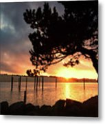 Siuslaw River Autumn Sunset Metal Print