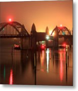 Siuslaw River Bridge At Night Metal Print