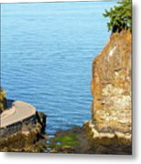 Siwash Rock By Stanley Park Seawall Metal Print