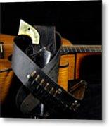 Six Gun And Guitar On Black Metal Print by M K  Miller