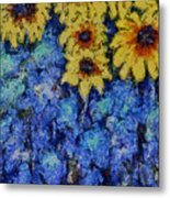 Six Sunflowers On Blue Metal Print