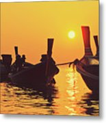 Six Thai Wooden Boats Floating And Glittering In The Lagoon During Golden Sunset Koh  Metal Print