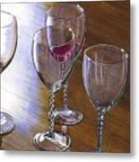 Six Wine Glasses Metal Print