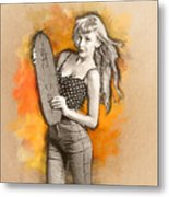 Skateboard Pin-up Illustration Metal Print