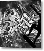 Skateboarder On Graffitti Metal Print