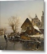 Skaters On The Canal Metal Print