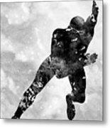 Skating Man-black Metal Print