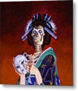 Skeletal Geisha With Mask Metal Print