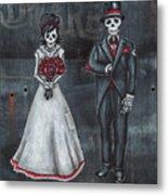 Skeleton Bride And Groom Aka Amor Sencillo Metal Print