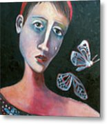 Skeleton Butterfly Metal Print