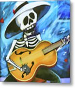 Skeleton Guitar Day Of The Dead  Metal Print