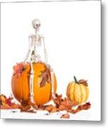 Skeleton Sitting On Pumpkin Metal Print