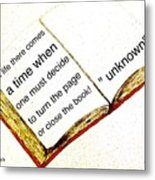 Sketch Of A Book With Quote Metal Print