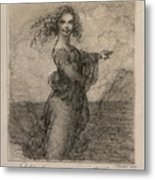 Sketch Of A Young Woman After Leonardo Metal Print