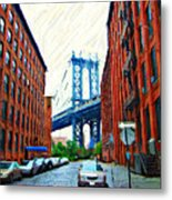 Sketch Of Dumbo Neighborhood In Brooklyn Metal Print