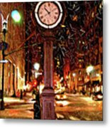 Sketch Of Midtown Clock In The Snow Metal Print