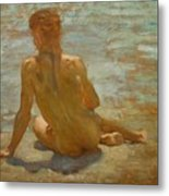 Sketch Of Nude Youth Study For Morning Spelendour Metal Print