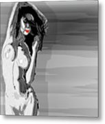 Sketches Of Nude Black And White Metal Print