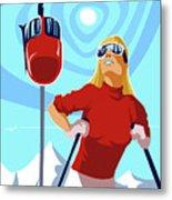 Ski Bunny Retro Ski Poster Metal Print
