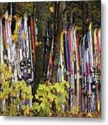 Ski Fence Metal Print