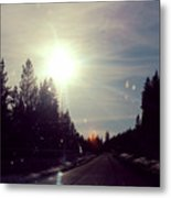 Ski Lodge Road Metal Print
