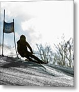 Ski Racer Backlit Metal Print