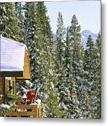 Skiers On Balcony Of Ski Lodge Prepare Metal Print