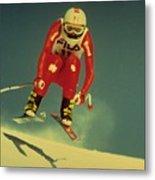 Skiing In Crans Montana Metal Print