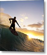 Skimboarding At Sunset I Metal Print