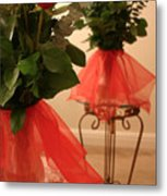 Skirted Roses In Mirror Metal Print