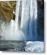 Skogafoss Waterfall Iceland In Winter Metal Print