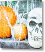Skull And Pumpkin Metal Print