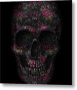 Skull Black Flowers Metal Print