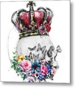 Skull Queen With Flowers Metal Print