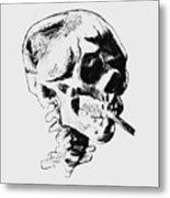 Skull Smoking A Cigarette Metal Print