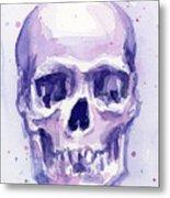 Purple Skull Metal Print